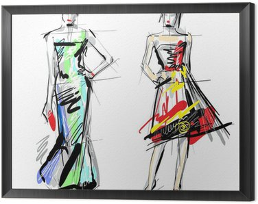 Framed Canvas Fashion models. Sketch.