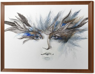 Framed Canvas feathers around eyes (series C)
