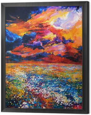 Framed Canvas Field of flowers