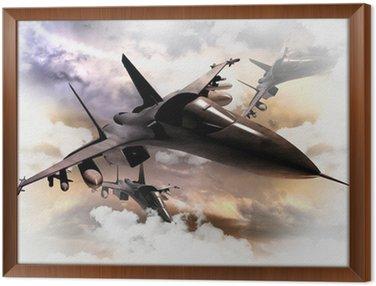 Framed Canvas Fighter Jets in Action