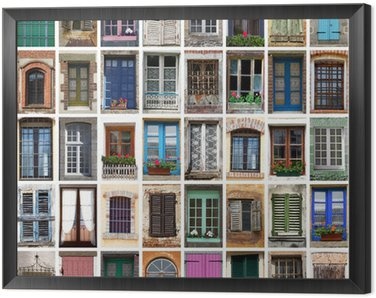 Framed Canvas finestre collage
