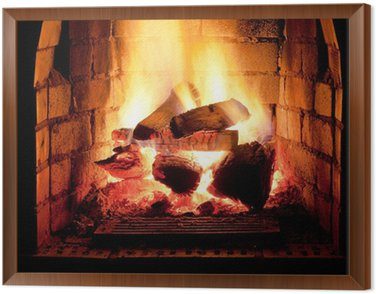 Framed Canvas fire in fireplace