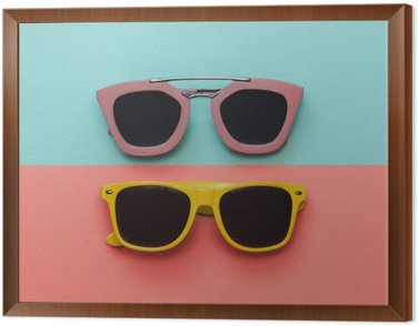 Flat lay fashion set: two sunglasses on pastel backgrounds. Top view. Framed Canvas