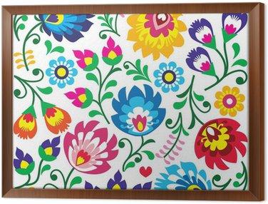 Floral Polish folk art pattern in square - Wycinanki