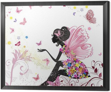 Flower Fairy in the environment of butterflies Framed Canvas
