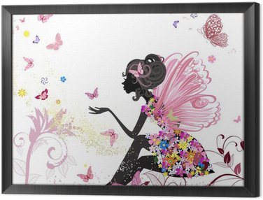 Framed Canvas Flower Fairy in the environment of butterflies