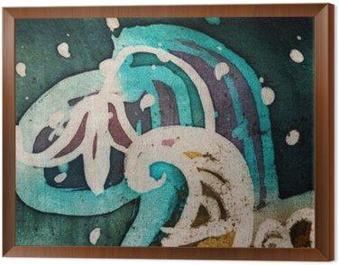 Flower, hot batik, background texture, handmade on silk, abstract surrealism art Framed Canvas