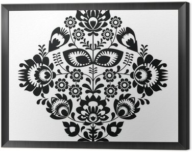 Folk embroidery with flowers - polish pattern monochrome