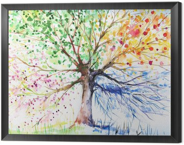 Framed Canvas Four season tree