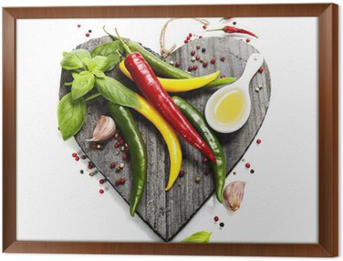 Framed Canvas Fresh vegetables on heart shaped cutting board