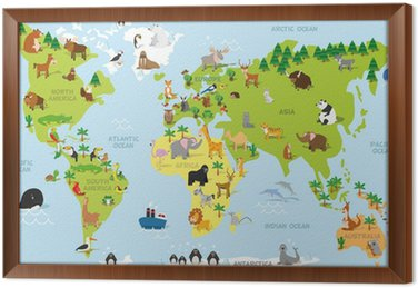 Funny Cartoon World Map With Traditional Animals Of All The - All continents and oceans