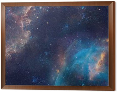 Galaxy illustration, space background with stars, nebula, cosmos clouds Framed Canvas