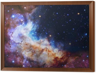 Framed Canvas Galaxy illustration, space background with stars, nebula, cosmos clouds