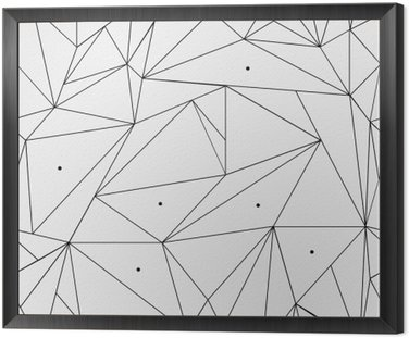 Framed Canvas Geometric simple black and white minimalistic pattern, triangles or stained-glass window. Can be used as wallpaper, background or texture.