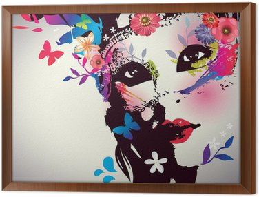 Framed Canvas Girl with mask/Vector illustration