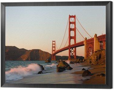 Golden Gate Bridge in San Francisco at sunset Framed Canvas