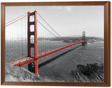 Framed Canvas Golden Gate Bridge Red Pop on B&W