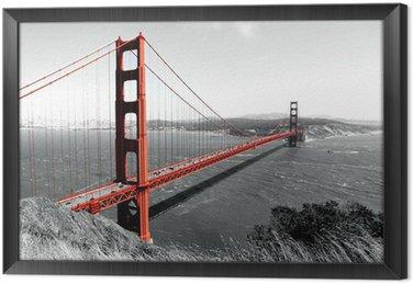 Golden Gate Bridge Red Pop on B&W Framed Canvas