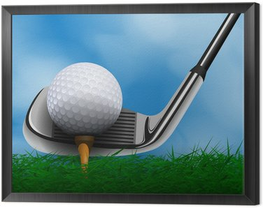 Framed Canvas Golf ball and club in front of grass