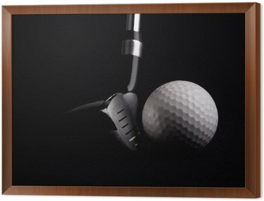 Framed Canvas golf club with ball on black background