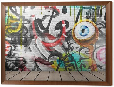 Graffiti on wall Framed Canvas