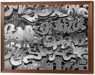 Graffiti seamless background. Urban art texture Framed Canvas