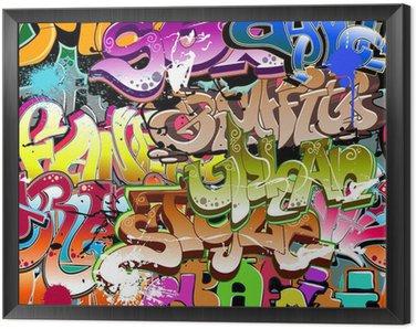 Graffiti seamless background. Urban art texture Framed Canvas