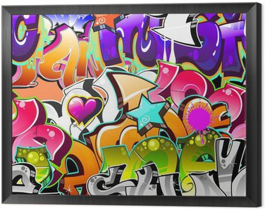 Graffiti Urban Art Background. Seamless design Framed Canvas