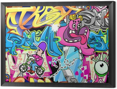 Graffiti Urban Art Vector Background Framed Canvas