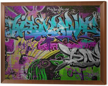 Graffiti wall urban art background Framed Canvas