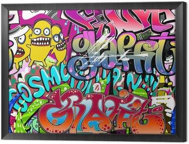 Framed Canvas Graffiti wall. Urban art vector background. Seamless texture