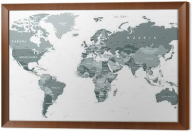 Grayscale World Map Borders Countries And Cities Illustration - Detailed world map with countries and cities