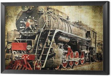 Framed Canvas Grunge steam locomotive