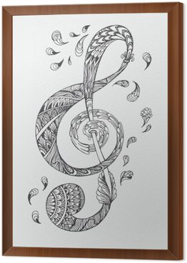 Hand-drawn music key with ethnic ornaments doodle pattern. Vector illustration Henna Zentangle stylized for Cover book or card, tattoo more. Design for spiritual relaxation for adults.