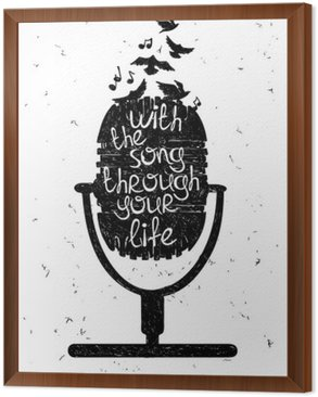 Framed Canvas Hand drawn musical illustration with silhouette of microphone.