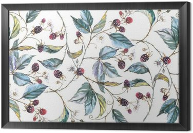 Hand-drawn watercolor seamless ornament with natural motives: blackberry branches, leaves and berries. Repeated decorative illustration, border with berries and leaves Framed Canvas