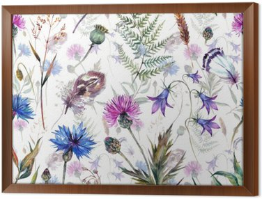 Hand drawn watercolor wildflowers Framed Canvas