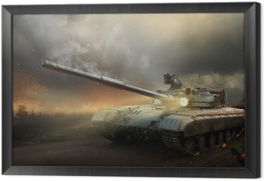 Framed Canvas Heavy armor in the fire of battle