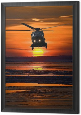 Framed Canvas Helicopter at sunset