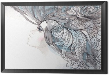 Framed Canvas her hair ornate with foliage