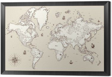 High detailed, Old world map with decorative elements