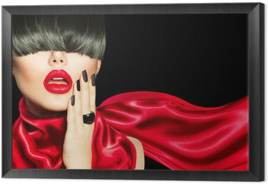 Framed Canvas High Fashion Girl with Trendy Hairstyle, Makeup and Manicure