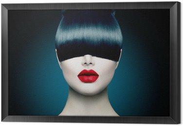 High Fashion Model Girl Portrait with Trendy Fringe Framed Canvas