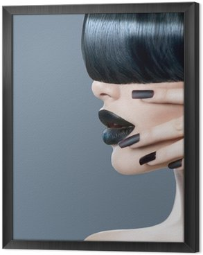 High fashion model girl portrait with trendy hair style Framed Canvas