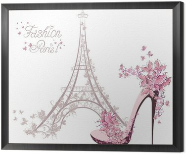 Framed Canvas High-heeled shoes on background of Eiffel Tower. Paris Fashion