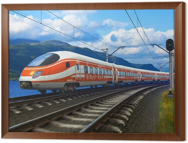 High speed train Framed Canvas