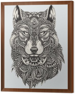 Framed Canvas Highly detailed abstract wolf illustration