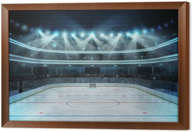 Framed Canvas hockey stadium with spectators and an empty ice rink