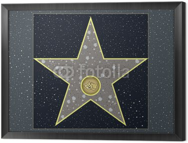Framed Canvas hollywood walk of fame: live theater star in vector