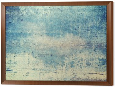 Framed Canvas Horizontally oriented blue colored grunge background